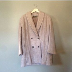 Vintage Herringbone Wool Pea Coat